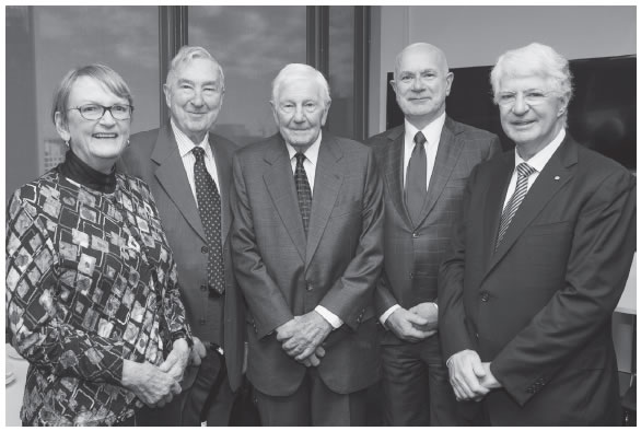 Gathered at the ceremonial sitting of the amalgamated Administrative Appeals Tribunal on 1 July 2015 were five Presidents of the Tribunal: the Hon Acting Justice Jane Mathews AO, the Hon Sir Gerard Brennan AC KBE QC, the Hon Daryl Davies QC, the Hon Justice Kerr and the Hon Garry Downes AM QC.